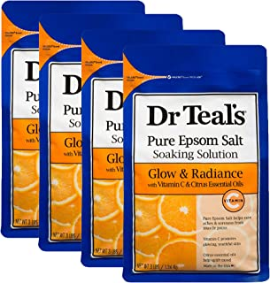 Dr. Teal's Glow & Radiance with Vitamin C & Citrus Essential Oils Pure Epsom Salt Soaking Solution Pack of 4 (12 lbs Total)