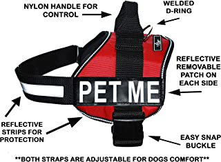 PET ME Nylon Dog Vest Harness. Purchase Comes with 2 Reflective Removable PET ME Patches. Please Measure Your Dog Before Ordering