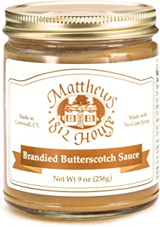 Matthews 1812 House Brandied Butterscotch Sauce, Small Batch Gourmet Dessert Sauce with Real Brandy, No Corn Syrup Ice Cream or Cake Topping, 9 oz jar
