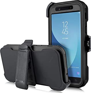 for Samsung Galaxy J3 Star 2018, Achieve, J3V 3rd Gen, Express Prime 3, Amp Prime 3 (J337) [Four Layered Protection] Heavy Duty Defender Holster Armor Case with Built in Screen Protector (Black)