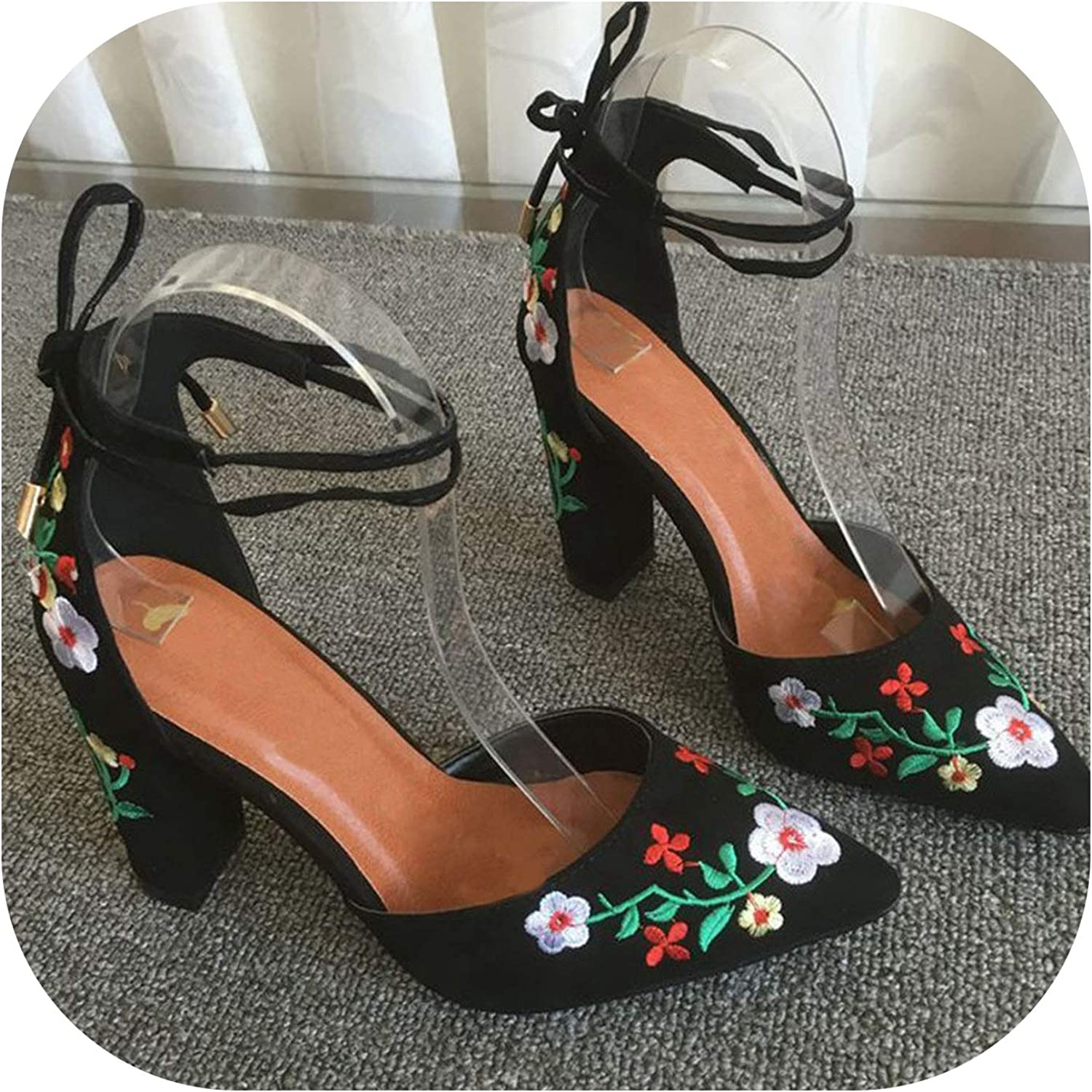 Women High Heels Embroidery Pumps Flower Ankle Strap Two Piece Sexy Wedding Pointed Toe
