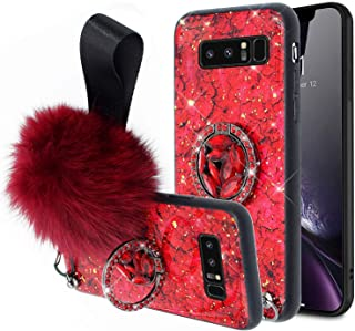 Cover for Samsung S10 Plus,Aulzaju Galaxy S10 Plus Luxury Shiny Cute Case with Ring Stand S10 Plus Hard Back Raised Edge Marble Hybrid Cover with Soft Furry Ball Strap for Girl Women-Red