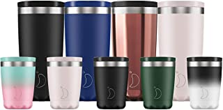 Chilly's Insulated Coffee Cup | Double Walled Coffee Cups with Lids | Stainless Steel | 340ml | Monochrome Black