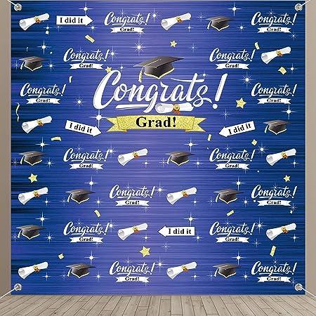 AOFOTO 8x6ft Graduation Backdrop Class of 2021 Congrats Graduates Trencher Caps in Sky Photography Background Black Mortarboards Convocation Honoring Ceremony School Diploma Photo Studio Props Vinyl