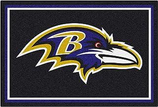"FANMATS NFL Baltimore Ravens Nylon Face 5X8 Plush Rug,Team Color,60""x92"""