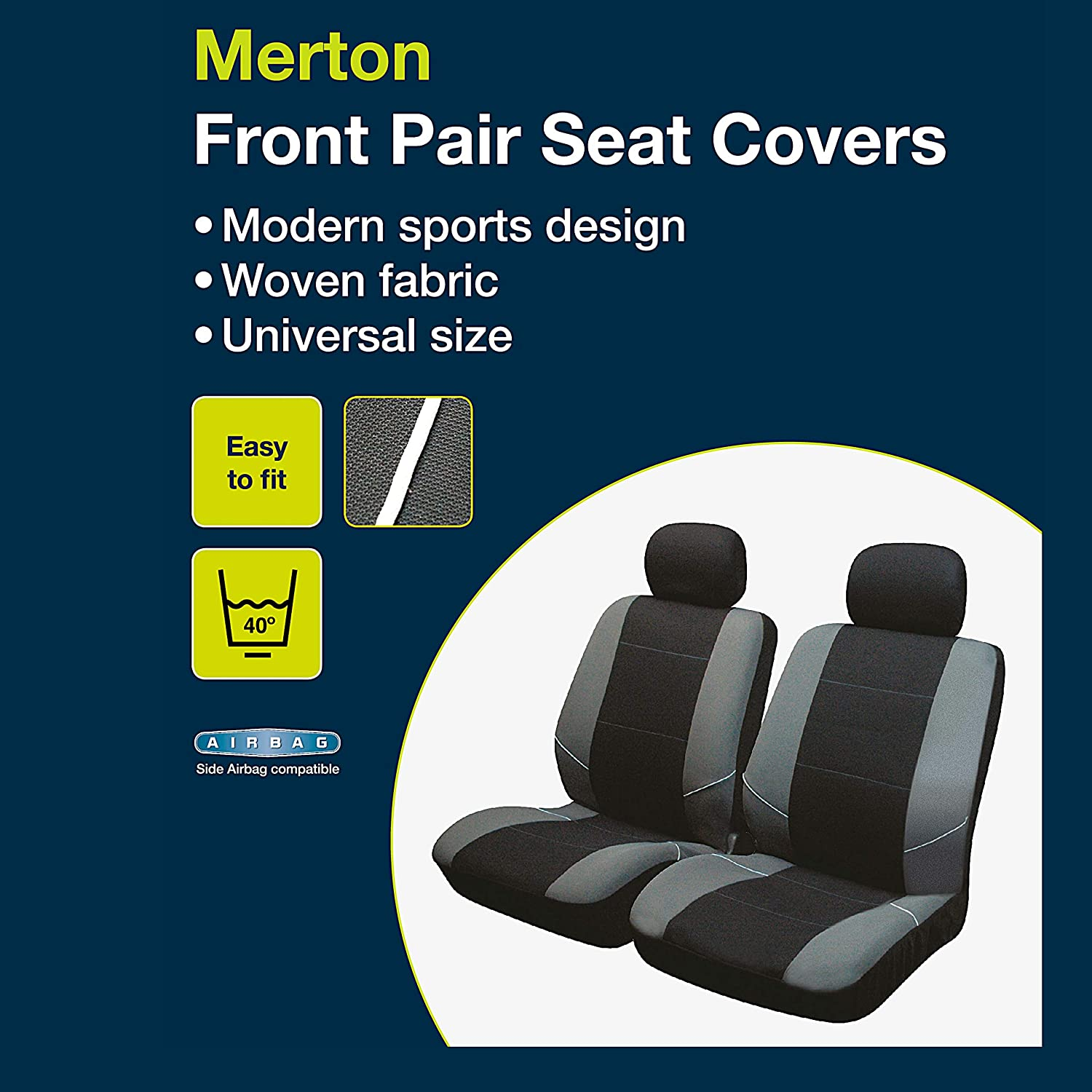 Sakura Merton Black//Grey Seat and Headrest Covers BY0802 Full Set Universal Fit Elasticated Hems Side Airbag Compatible Machine Washable
