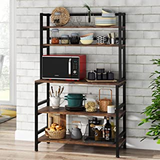 Tribesigns 5-Tier Kitchen Bakers Rack with Hutch, Industrial Microwave Oven Stand, Free Standing Kitchen Utility Cart Stor...