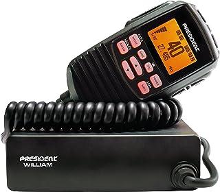 CB-radio President William ASC, met automatische squelch, 40 AM/FM, VOX, lokale DX-kanalen, ANL, NB en Hi Cut-filters, CTC...