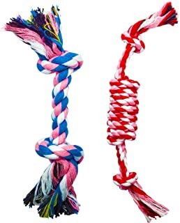 FUNPET 2 Pack Pet Puppy Dog Chew Durable Rope Toy for Small Aggressive Chewers