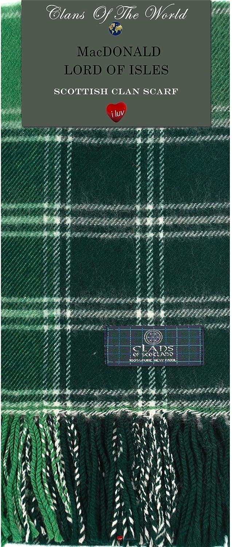 MacDonald Lord of the Isles Modern Tartan Clan Scarf 100% Soft Lambswool