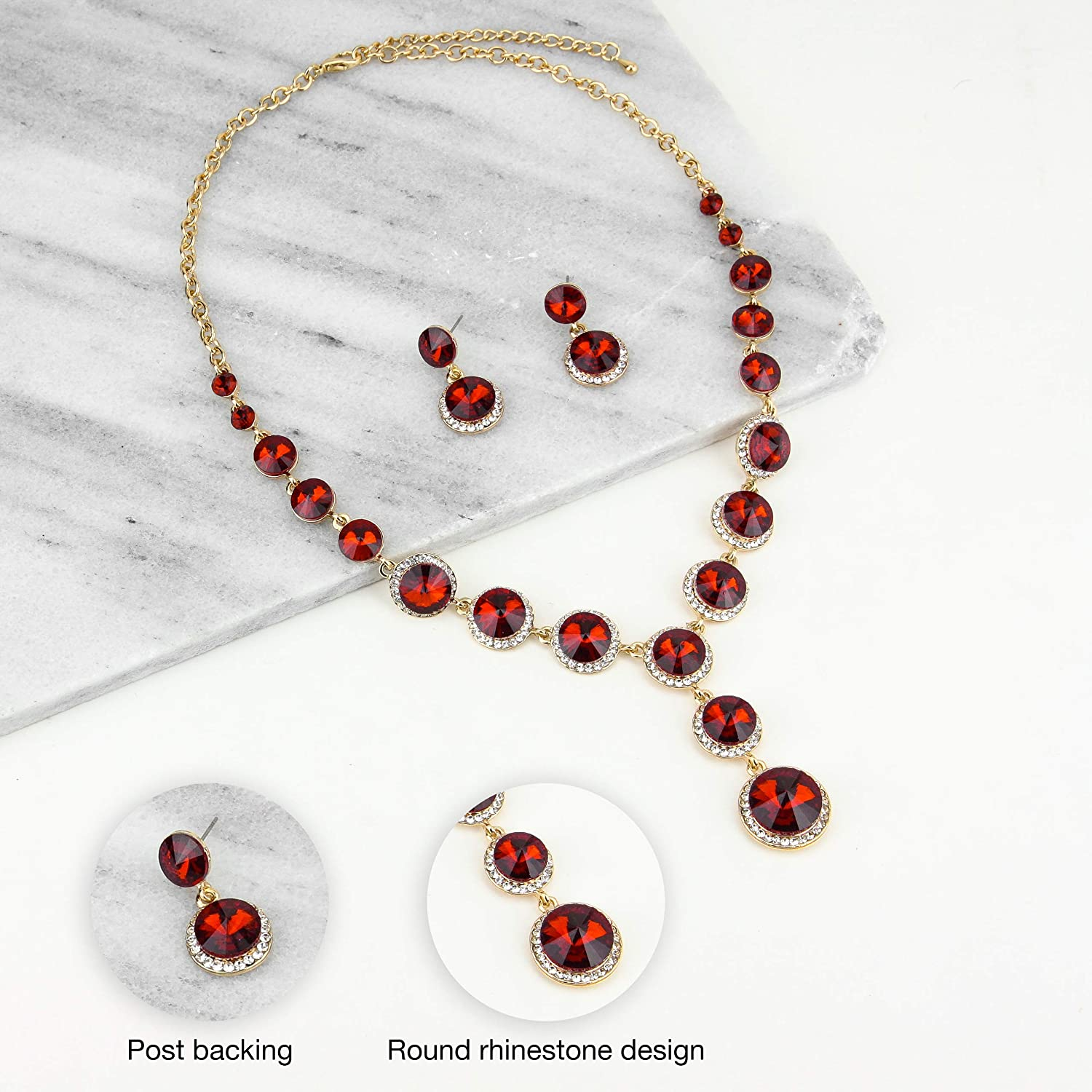 SP Sophia Collection Elegant Women's Round Austrian Crystal Rhinestone Drop Necklace and Stud Post Dangle Earrings Jewelry Set