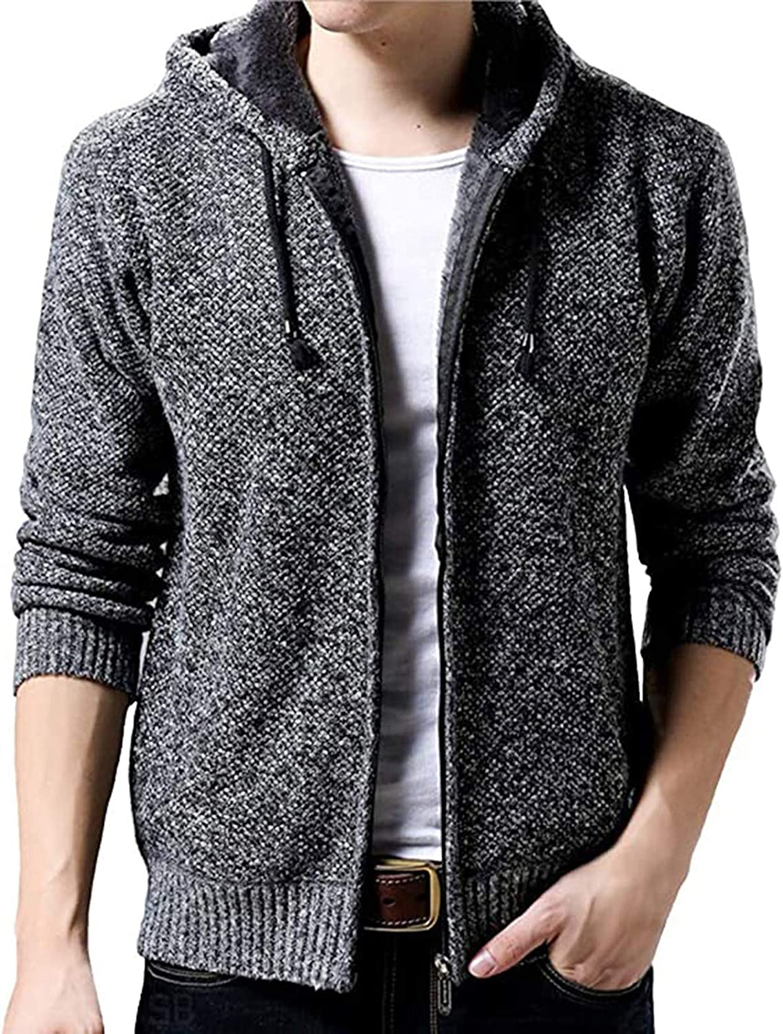 Men's Casual Hipster Hoodies Cardigan Sweaters Jackets Full Zip Knitted Open Front Cotton Cardigans Jackets