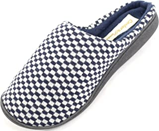 SNUGRUGS Mens Microsuede Slip On Mules/Slippers with Micro Fleece Lining and Checked Design