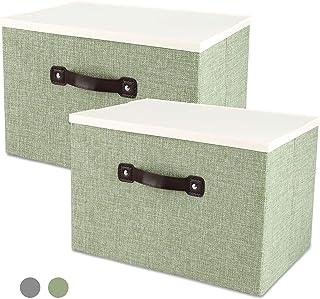 収納ボックス 収納ケース 整理箱 蓋付き 綿麻製 大容量 コンパクト 折り畳み 積重ね 省スペース 防塵 無臭 取っ手付き 衣類 おもちゃ 書類 CD 雑貨など収納できる整理箱 寝室 クローゼットに適用 2個組み(緑)