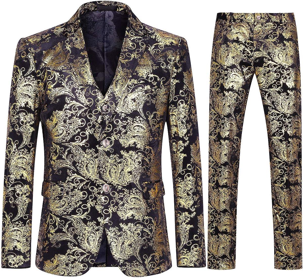 Men's Dress Floral Suit Single-Breasted 3 Pieces Slim Fit 2 Buttons Suit