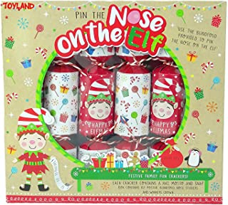 TOYLAND® Pack of 6 - Pin The Nose On The Elf Juego Christmas Crackers - Novedad Christmas Crackers