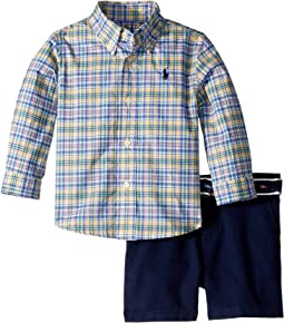 Plaid Shirt, Belt and Shorts Set (Infant)