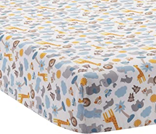 Bedtime Originals Two by Two Noah's Ark Fitted Crib Sheet, Blue/Gray