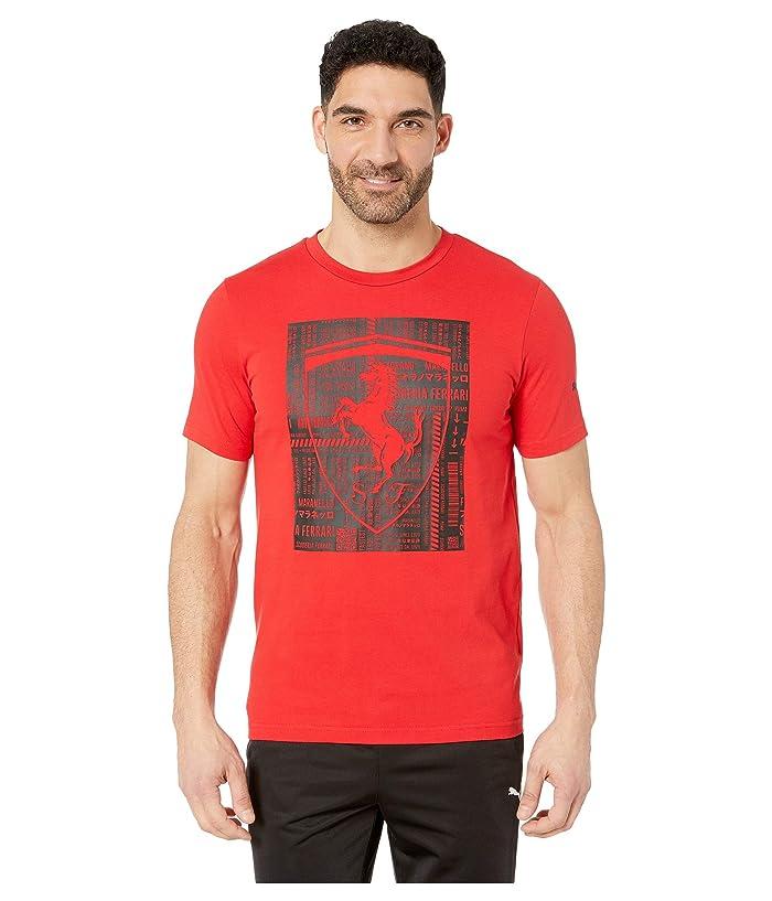 PUMA Ferrari Big Shield Tee (Rosso Corsa) Men
