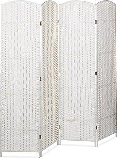 Relaxdays Biombo Separador de 4 Paneles BYÖBU, Parabán Plegable, Madera y Bambú, 179 x 180 x 2 cm, Blanco