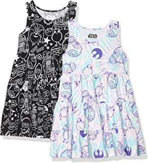 Amazon Brand - Spotted Zebra Girl's Disney Star Wars Marvel Frozen Princess Knit Sleeveless Tiered Dresses