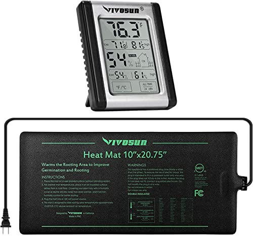 """high quality VIVOSUN Durable Waterproof Seedling Heat new arrival Mat 10"""" popular x 20.75"""" and Digital Indoor Thermometer and Hygrometer online sale"""