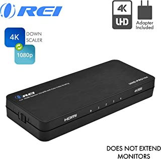 4K 1x4 HDMI Splitter Duplicater by OREI - with Down Scaler 4 Ports with Full Ultra HD, HDCP 2.2, Upto 4K at 60Hz, 1080p & 3D Supports EDID Control - UHDPRO-104