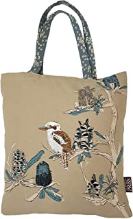 The Linen Press Designer Canvas Shopping Tote Bag – Australian Certified Organic Cotton – Kookaburra & Banksia Design with...