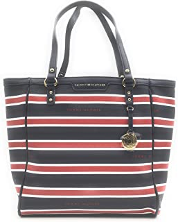 Red White and Navy Striped Tote Shopper Shoulder Bag with Gold Accent
