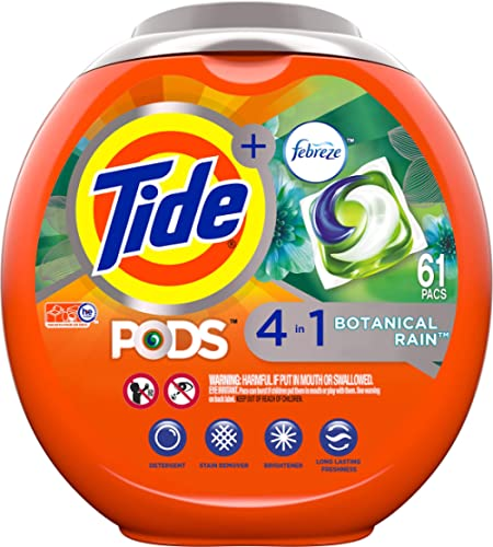 Tide PODS 4 in 1, Plus Febreze, Laundry Detergent Liquid Pacs, Botanical Rain, 61 Count - Packaging May Vary