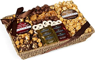 Chocolate, Caramel and Crunch Grand Gift Basket Tray With Protective Packaging, Damage Free Guarantee.