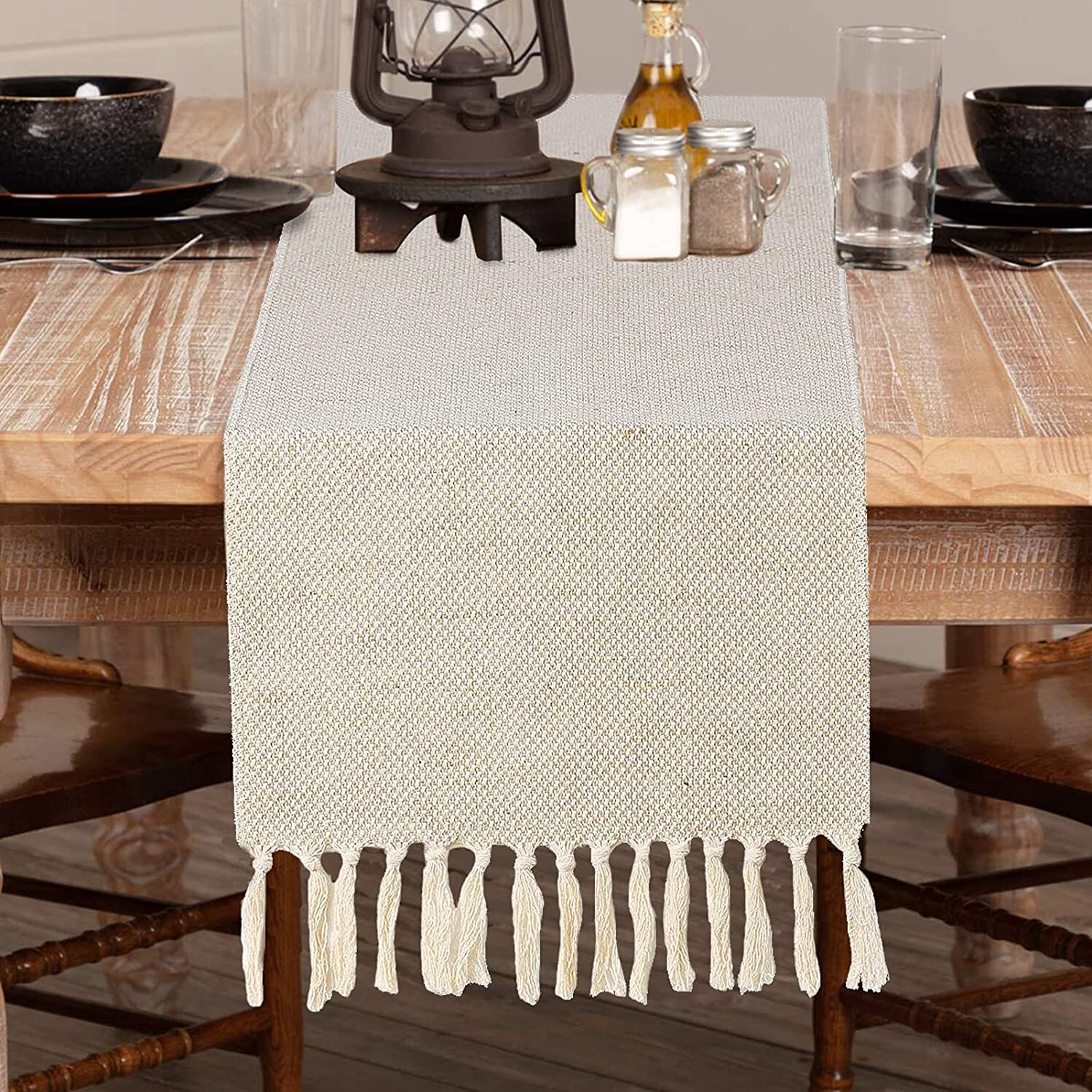WIVOP Burlap New popularity Table Runner Farmhouse Style New item 13 x Rustic C Inch 72