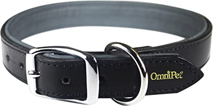 "OmniPet Deer Tan Leather Dog Collar, 3/4"" x 19"", Black"