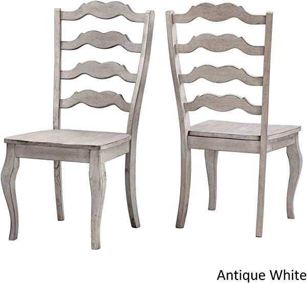 Inspire Q Eleanor French Ladder Back Wood Dining Chair Set Of 2 By Classic Antique White Antique
