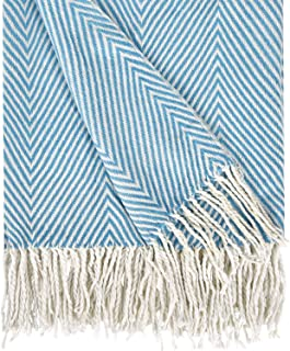 Herringbone Stripe Throw Blanket Decorative Soft Cashmere Blankets with Fringe 50 × 60 Inch Fuzzy Cozy Chevron Throws Ligh...