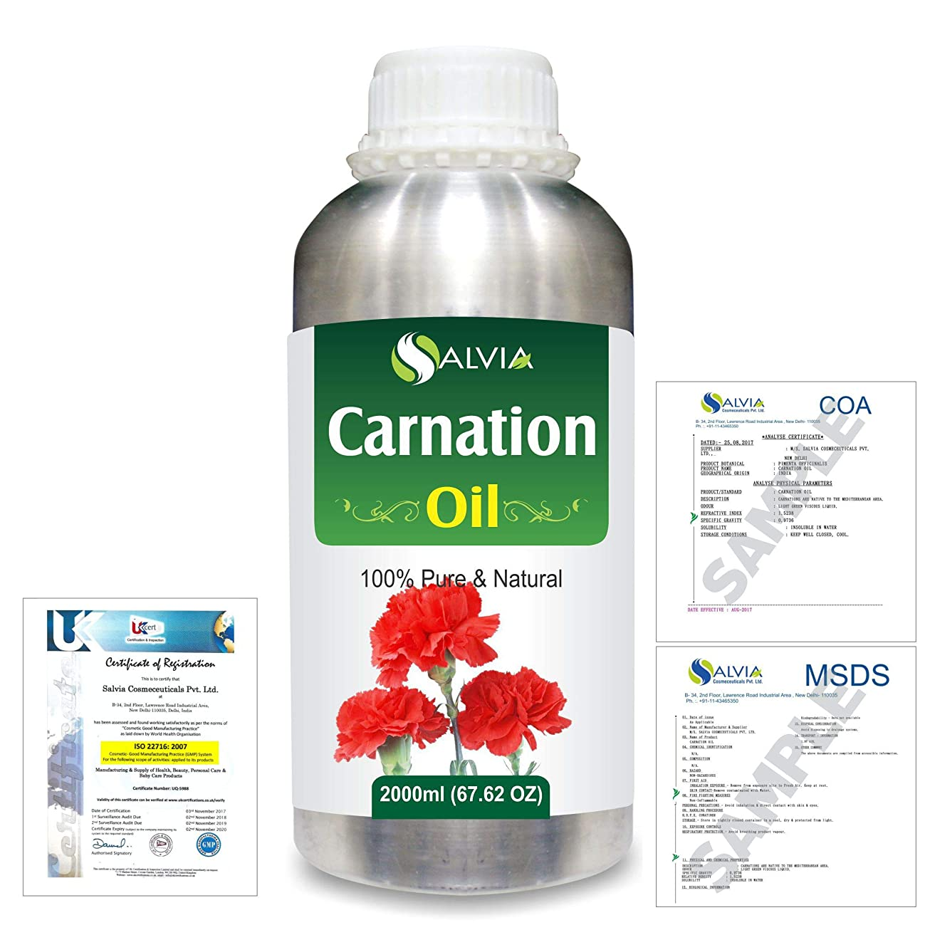 スチュアート島もろい牧師Carnation (Dianthus caryophyllus) 100% Natural Pure Essential Oil 2000ml/67 fl.oz.