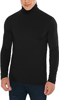 Men's Thermal Brushed Turtleneck Soft Slim Fit Long Sleeve Elastic Shirt Black Medium