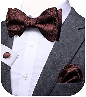 Dubulle Self Bow Ties for Men with Pocket Square Cufflinks Set for Wedding Tuxedo