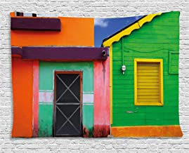 Lunarable Mexican Tapestry, Caribbean Houses in Vibrant Color Scheme in Isla Mujeres Mexico Latin America Photo, Wide Wall Hanging for Bedroom Living Room Dorm, 80