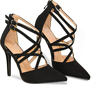 MVE Shoes Women's Pointed Criss Cross Strappy Pumps - Fashion Party High Heel Pumps