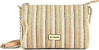 Don algodón Urban, Bolso Bandolera Mujer con Cadena Trenzado Vertical, Blanco, 26x17x7 cm