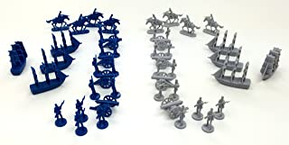 Civil War Toy Soldiers: Set of 48 Union Blue and Confederate Grey Army Men Miniatures- Infantry, Cavalry, Artillery Cannons, and Naval Ships