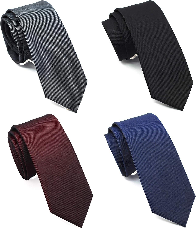 ZENXUS Skinny Solid Ties for Men, 2.5 inch Slim Plain Neckties 4-Pack