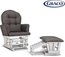 Graco Parker Semi-Upholstered Glider and Nursing Ottoman, White/Gray Cleanable..