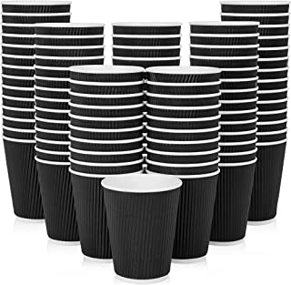 [50 Cups] 12 oz. Black Disposable Coffee Cups - Triple Wall Ripple Paper Cups for Tea, Drinks To-Go