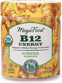 MegaFood, Certified Organic B12 Energy Ginger Gummies, Soft Chew Vitamin B12 Supplement for Cellular Energy Support, Vegan, 90 Gummies (45 Servings)