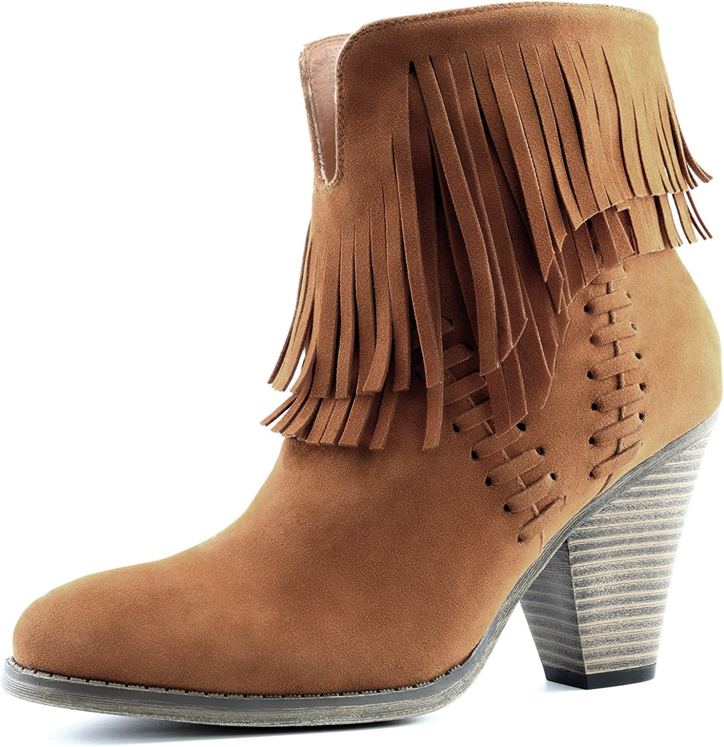 Dailyshoes Women's Double Fringe High Top Ankle Booties High Heel Western Cowboy Boot