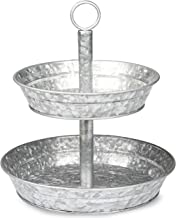 Galvanized Two Tiered Serving Stand - 2 Tier Metal Tray Platter for Cake, Dessert, Shrimp, Appetizers & More