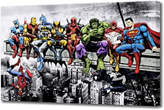 "MARVEL DC COMIC SUPERHEROES GIRDER LUNCH ATOP SKYSCRAPER BY DAN AVENELL CANVAS ART (44"" X 26"" / 110 X 65cm)"