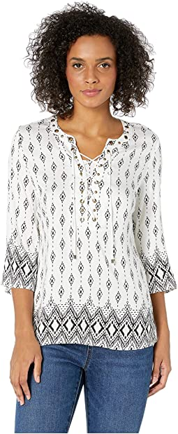 Printed Stretch Challis 3/4 Bell Sleeve Blouse w/ Eyelets